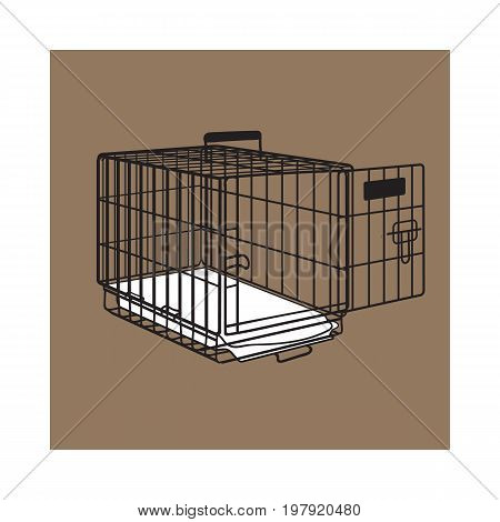Metal wire cage, crate for pet, cat, dog transportation, sketch style vector illustration isolated on brown background. Hand drawn metal wire dog crate, cage on brown background