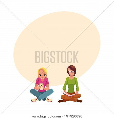 Two girls siting crossed legs, one reading book, another using mobile phone, cartoon vector illustration with space for text. Girls women using analogue and digital media sitting on the floor