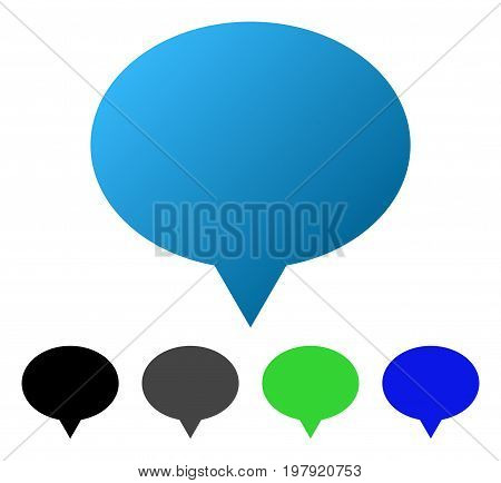 Hint Balloon flat vector icon. Colored hint balloon gradiented, gray, black, blue, green icon variants. Flat icon style for graphic design.