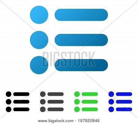 Items flat vector illustration. Colored items gradient, gray, black, blue, green pictogram versions. Flat icon style for web design.