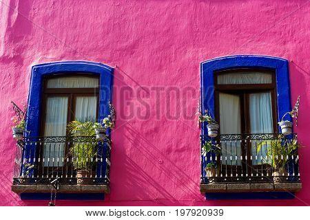 Colorful colonial facade in downtown Puebla Mexico