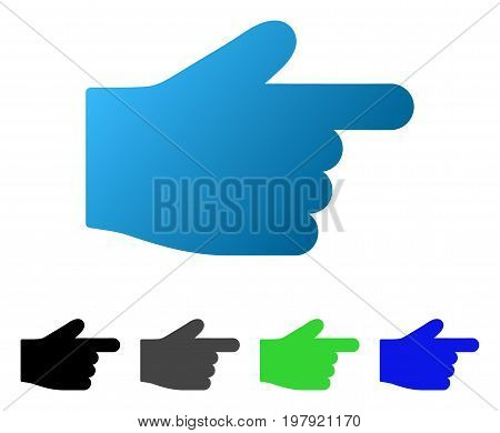 Right Index Finger flat vector icon. Colored right index finger gradiented, gray, black, blue, green icon versions. Flat icon style for graphic design.
