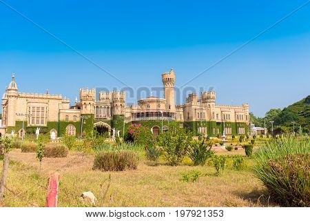 Main Buildings Of Bangalore Palace, Bangalore, Karnataka, India. Copy Space. Copy Space For Text.