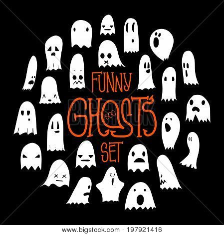 Big black and white set of cartoon spooky scary ghosts character, hand-drawn ghosts with various expressions, funny night symbol for halloween celebration, round frame, isolated, EPS 8