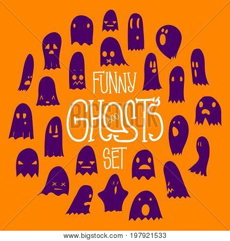 Big orange and purple set of cartoon spooky scary ghosts character, hand-drawn ghosts with various expressions, funny night symbol for halloween celebration, round frame, isolated, EPS 8
