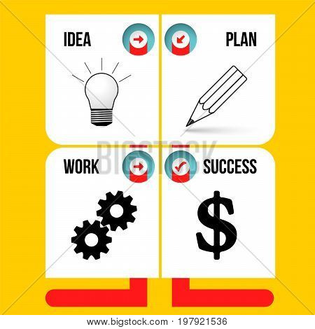 Info graphic with theme of idea plan work success