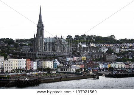 August 8th, 2011, Cobh, Ireland - view of the iconic Cobh village from a ferry