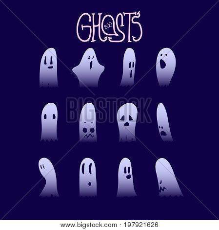 Set of twelve cartoon spooky scary ghosts character, hand-drawn ghosts silhouette with various expressions, funny night symbol for halloween celebration, isolated, EPS 10