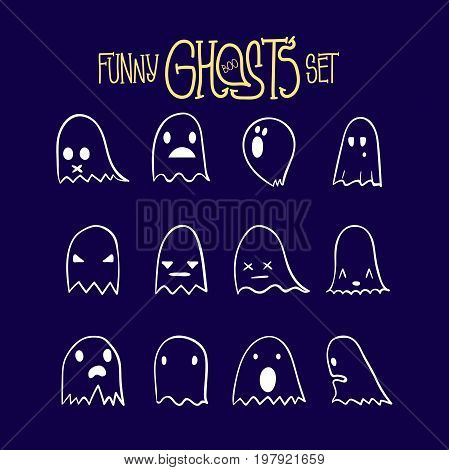 Set of twelve cartoon spooky scary ghosts character, hand-drawn ghosts with various expressions, funny night symbol for halloween celebration, isolated, EPS 8