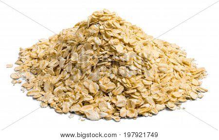 Raw corn pile cornflakes color white background