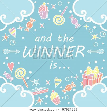 And the winner is. Giveaway banner for social media contests. / Squared pop background with freehand draw in blue colors