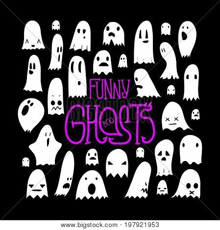 Big black and white set of cartoon spooky scary ghosts character, hand-drawn ghosts with various expressions, funny night symbol for halloween celebration, isolated square frame, EPS 8