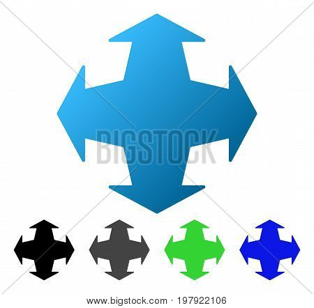 Expand Directions flat vector illustration. Colored expand directions gradient, gray, black, blue, green pictogram variants. Flat icon style for graphic design.