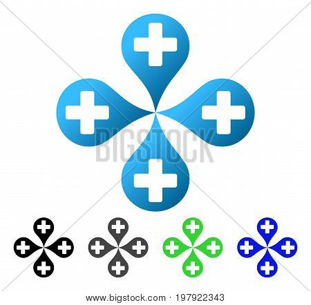 Hospital Map Markers flat vector illustration. Colored hospital map markers gradient, gray, black, blue, green pictogram versions. Flat icon style for web design.