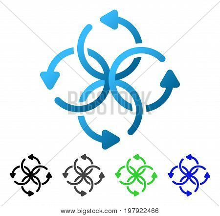 Knot Rotation flat vector illustration. Colored knot rotation gradiented, gray, black, blue, green icon variants. Flat icon style for application design.