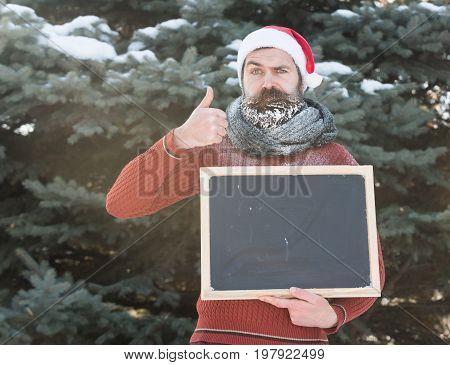 Frown Santa With Blank Chalkboard