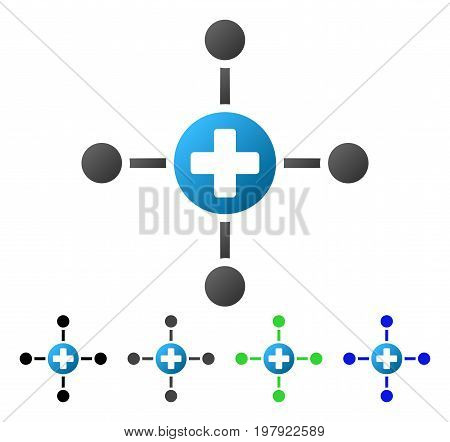 Medical Center flat vector pictogram. Colored medical center gradient, gray, black, blue, green pictogram variants. Flat icon style for web design.