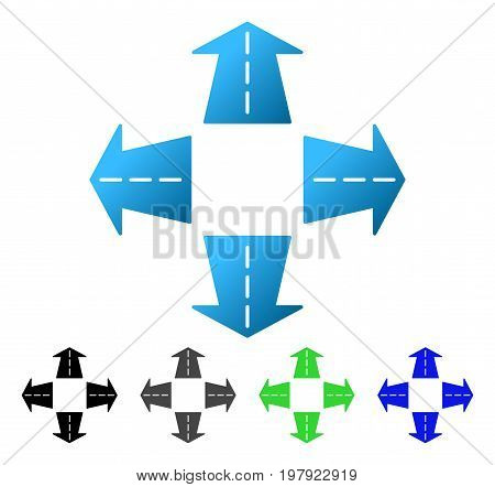 Road Directions flat vector pictograph. Colored road directions gradiented, gray, black, blue, green pictogram variants. Flat icon style for web design.