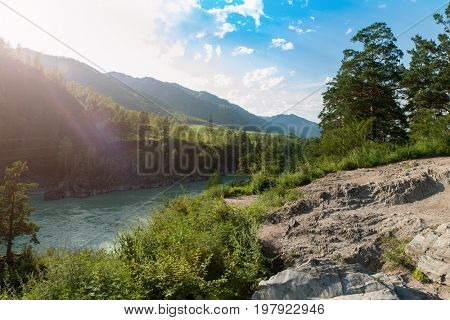 Sunny day in mountain on river Katun in Altay, Siberia, Russia.