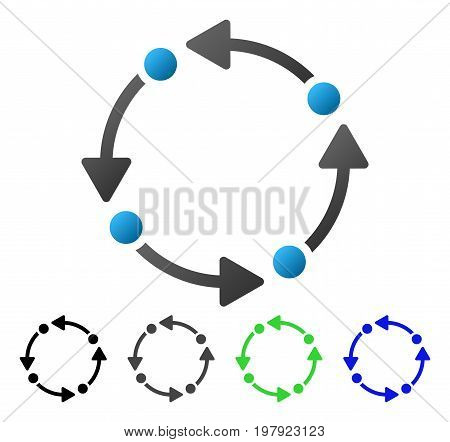 Rotate flat vector pictograph. Colored rotate gradient, gray, black, blue, green pictogram variants. Flat icon style for application design.