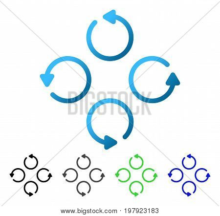 Rotation flat vector illustration. Colored rotation gradient, gray, black, blue, green pictogram versions. Flat icon style for graphic design.