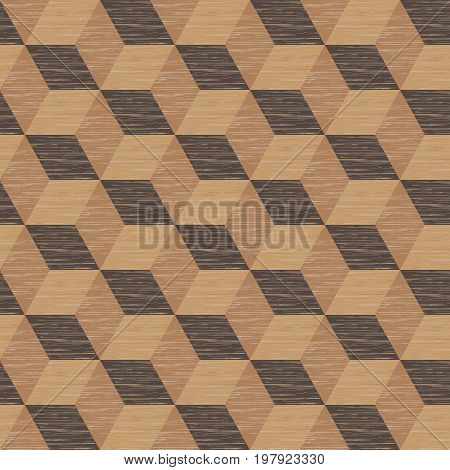 Abstract background, seamless pattern of isometric cubes, repeating wooden texture, vector illustration. Can be used for wallpaper, pattern fills, web page background, surface textures.