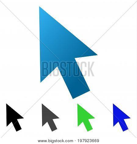 Cursor Arrow flat vector illustration. Colored cursor arrow gradient, gray, black, blue, green icon variants. Flat icon style for graphic design.
