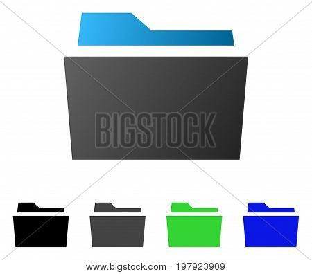 Folder flat vector illustration. Colored folder gradient, gray, black, blue, green icon variants. Flat icon style for graphic design.