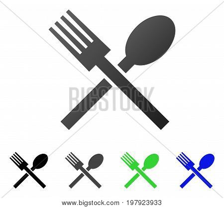Fork And Spoon flat vector pictogram. Colored fork and spoon gradient, gray, black, blue, green icon variants. Flat icon style for application design.