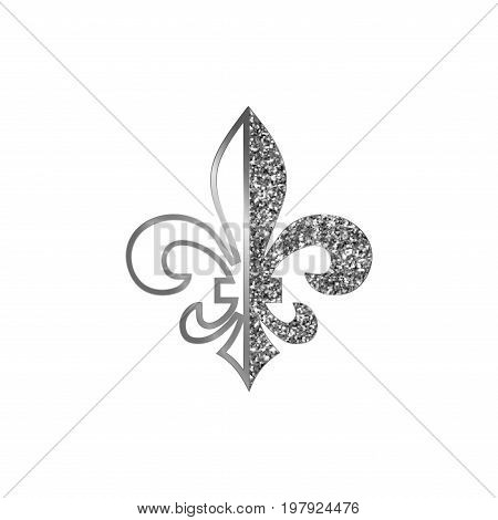 Fleur de lis symbols, silver glittering silhouettes - heraldic symbols. Vector Illustration. Medieval signs.Glowing french fleur de lis royal lily. Elegant decoration symbols.