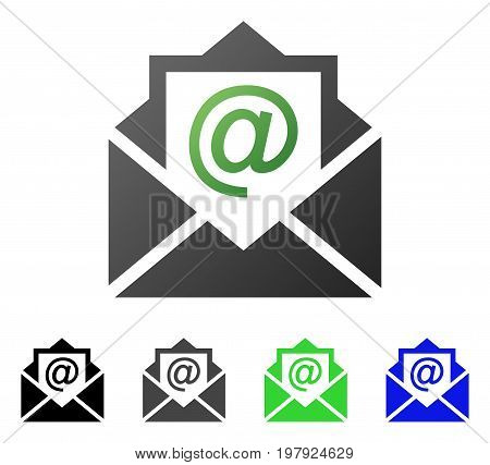Open Email flat vector pictogram. Colored open email gradiented, gray, black, blue, green pictogram versions. Flat icon style for web design.