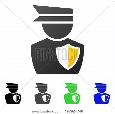 Policeman flat vector pictograph. Colored policeman gradient, gray, black, blue, green icon variants. Flat icon style for graphic design.