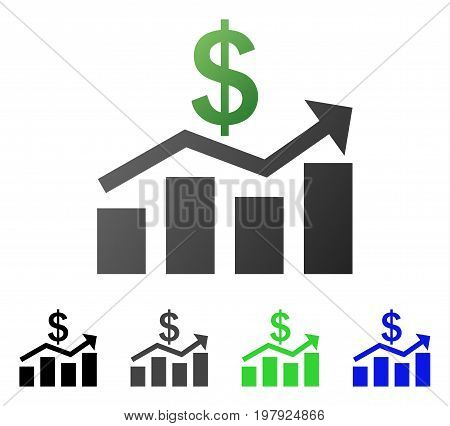 Sales Chart flat vector icon. Colored sales chart gradient, gray, black, blue, green pictogram versions. Flat icon style for web design.
