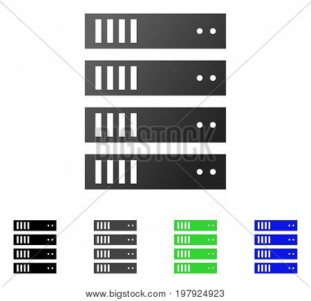 Server Rack flat vector pictogram. Colored server rack gradiented, gray, black, blue, green icon versions. Flat icon style for graphic design.