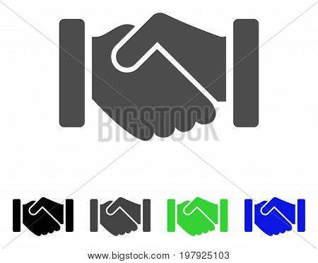 Agreement Handshake flat vector pictograph. Colored agreement handshake, gray, black, blue, green pictogram variants. Flat icon style for application design.