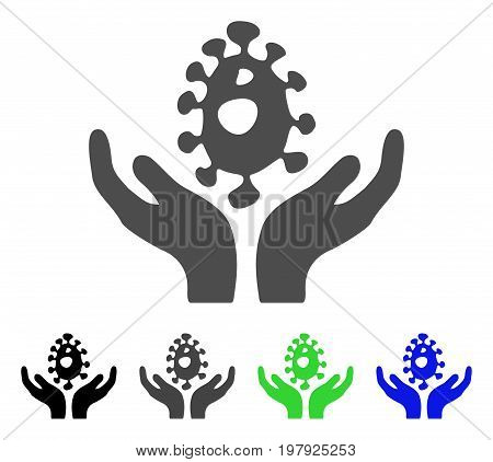 Biotechnology Care Hands flat vector icon. Colored biotechnology care hands, gray, black, blue, green pictogram versions. Flat icon style for graphic design.