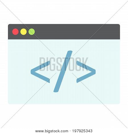 Custom coding flat icon, seo and development, browser programming sign vector graphics, a colorful solid pattern on a white background, eps 10.