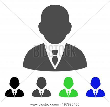 Boss flat vector icon. Colored boss, gray, black, blue, green icon variants. Flat icon style for application design.