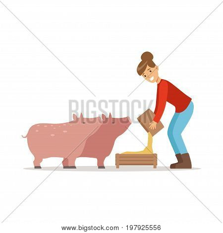 Farmer woman feeding pigs, farming and agriculture vector Illustration on a white background