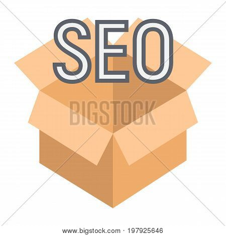 SEO Package flat icon, seo and development, box sign vector graphics, a colorful solid pattern on a white background, eps 10.