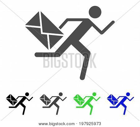 Courier flat vector pictogram. Colored courier, gray, black, blue, green pictogram versions. Flat icon style for web design.