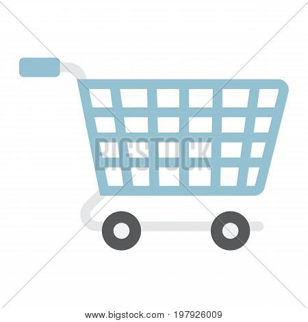 Ecommerce solutions flat icon, seo and development, basket sign vector graphics, a colorful solid pattern on a white background, eps 10.