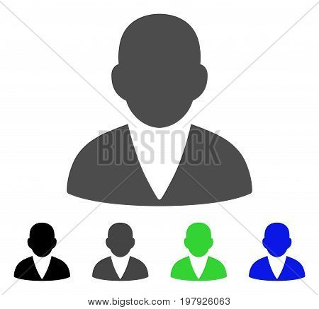 Customer flat vector pictograph. Colored customer, gray, black, blue, green icon variants. Flat icon style for application design.