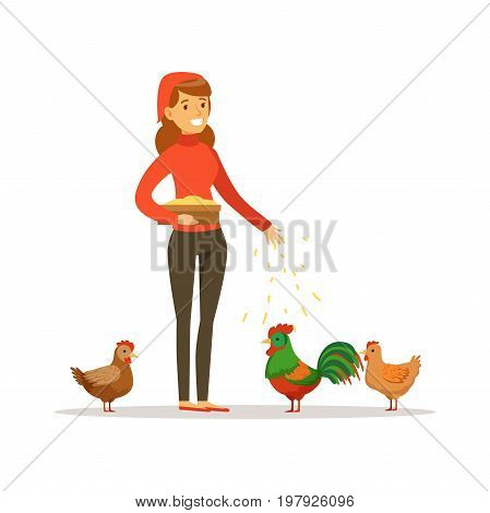 Farmer woman feeding chickens, poultry breeding vector Illustration on a white background