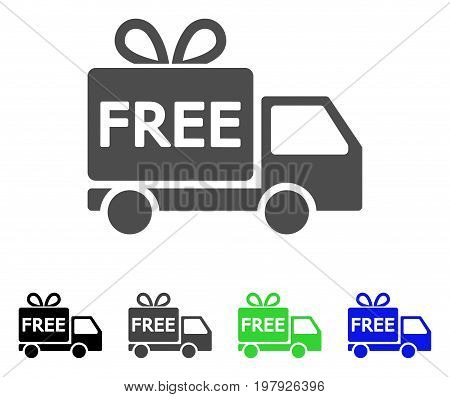 Free Delivery flat vector illustration. Colored free delivery, gray, black, blue, green icon variants. Flat icon style for application design.