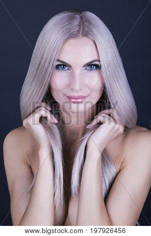 Deep grey blonde hair portrait close up shot