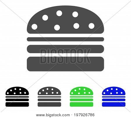 Hamburger flat vector pictograph. Colored hamburger, gray, black, blue, green pictogram variants. Flat icon style for web design.