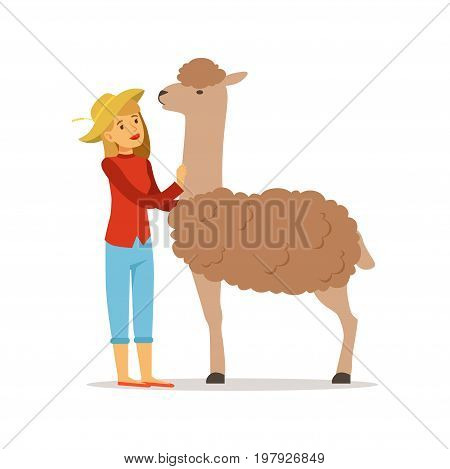 Farmer woman caring for her alpaca, farming and agriculture vector Illustration on a white background