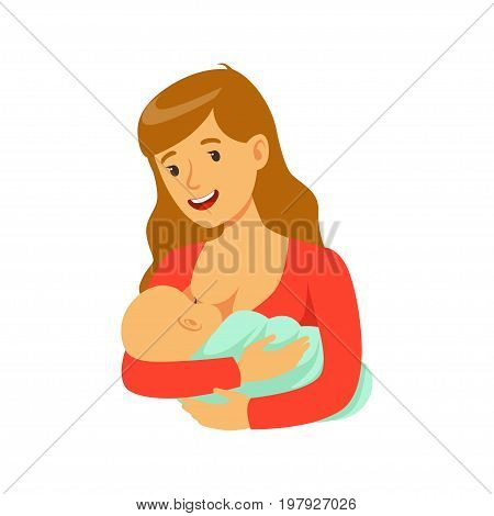 Young happy mother breastfeeding her baby with breast milk, colorful vector Illustration on a white background