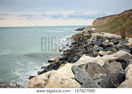 Rustic road along the shore of the Black Sea